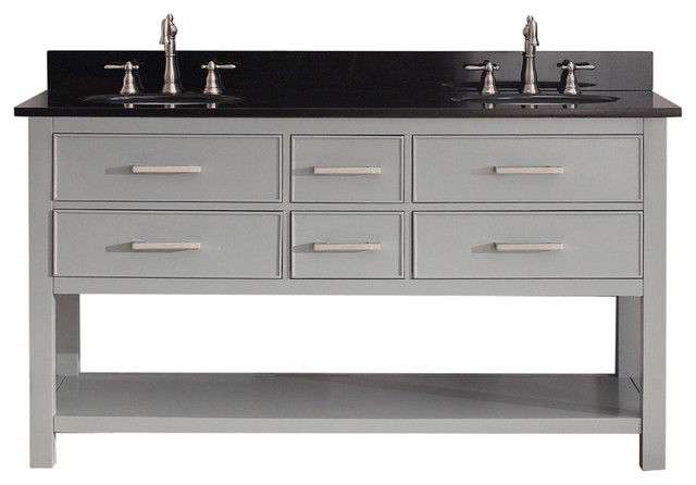 Brooks Vanity Combo Black Granite Top Contemporary Bathroom Vanities And