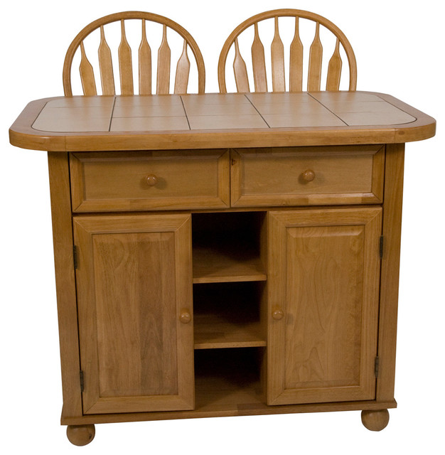 Kitchen Island Set With Inlaid Beige Tile Top farmhouse kitchen island