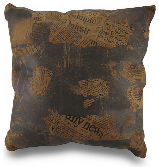 Vintage Style Newspaper Print Leather Patchwork Decorative Throw Pillow 17in. - Transitional ...