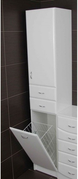 Re jasmine tall cabinet with laundry basket for Tall bathroom storage cabinet with laundry bin