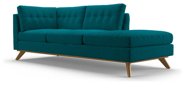 Hopson bumper chaise lucky turquoise blue midcentury for Chaise longue bleu turquoise