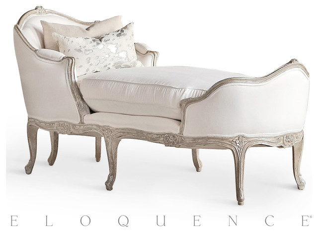 Eloquence Marie Antoinette Chaise in Silver Antique White Tone Traditional