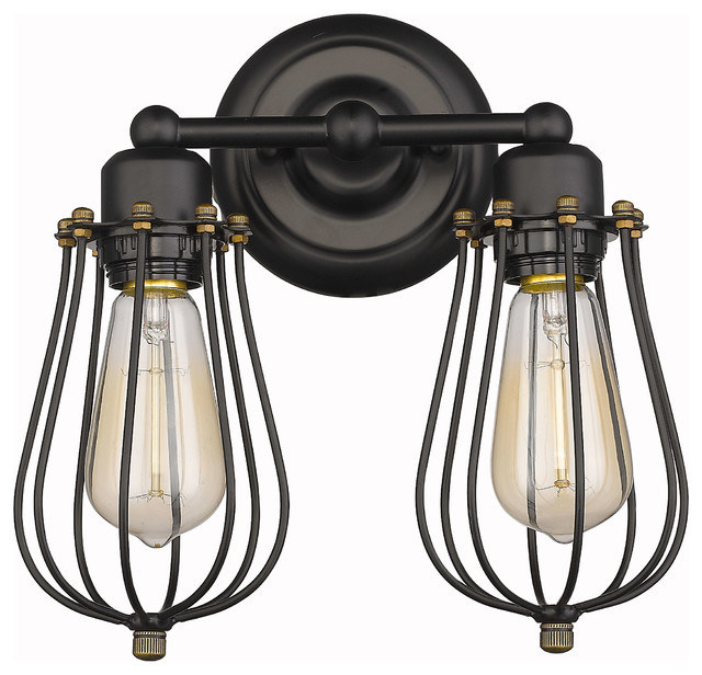 Vintage-Style 2-Light Wire Cage Wall Sconce, Oil Rubbled Bronze - Industrial - Wall Sconces - by ...