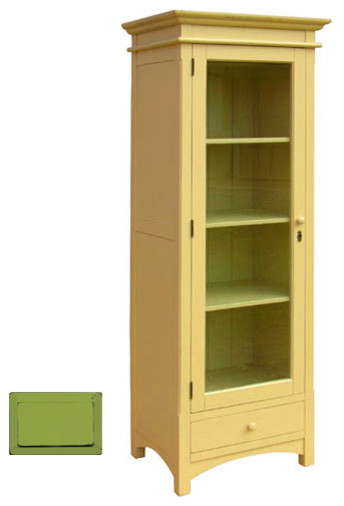 Narrow Cottage Display Cupboard Green Craftsman