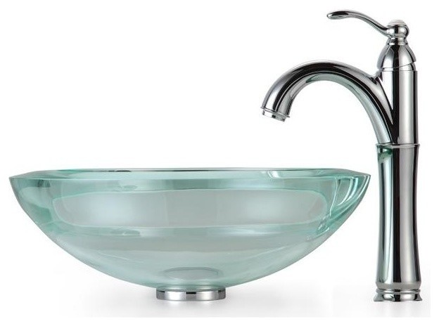 Clear Glass Sink : Clear 34mm edge Glass Vessel Sink and Rivera Faucet - Contemporary ...