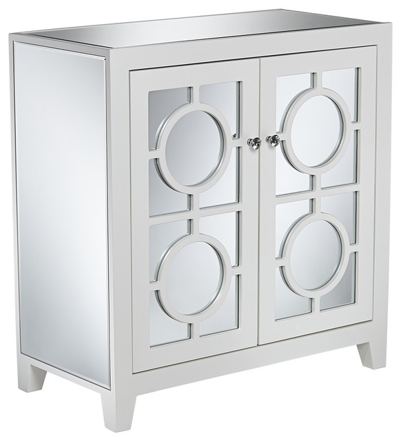 Jenyne White Mirrored Accent Cabinet Contemporary