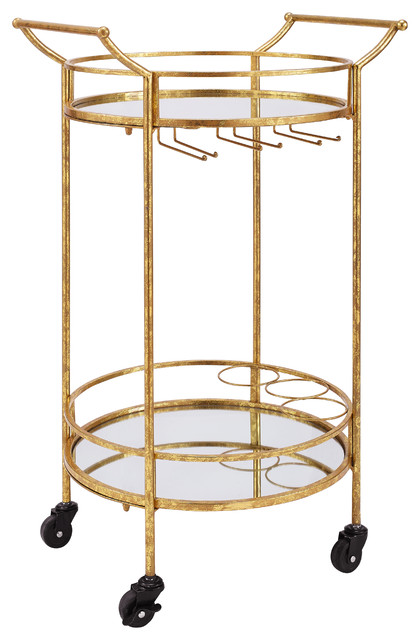 round gold metal bar cart transitional wine and bar cabinets by pot racks plus. Black Bedroom Furniture Sets. Home Design Ideas