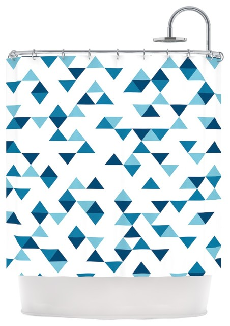 Project M Triangles Blue Navy White Shower Curtain Contemporary Shower Curtains By Kess