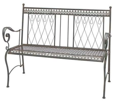 Metal Bench With Smeared In Black Color Traditional