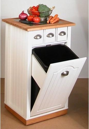 Venture Horizon Grafton Kitchen Island & Trash Bin - Contemporary - Kitchen Islands And Kitchen ...