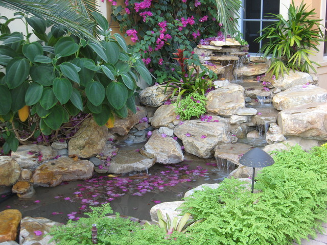 Tropical Waterfall Garden Pond In Front Entrance Tropical Landscape Other Metro By