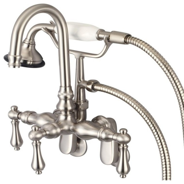 Vintage Classic Wall Mount Tub Faucet With Handshower Brushed Nickel Tradi