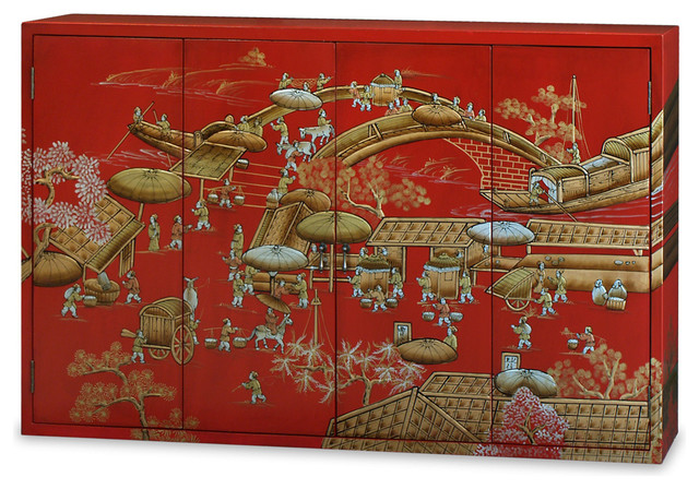 Chinoiserie Motif Wall Media Cabinet - Asian - Media Cabinets - by China Furniture and Arts
