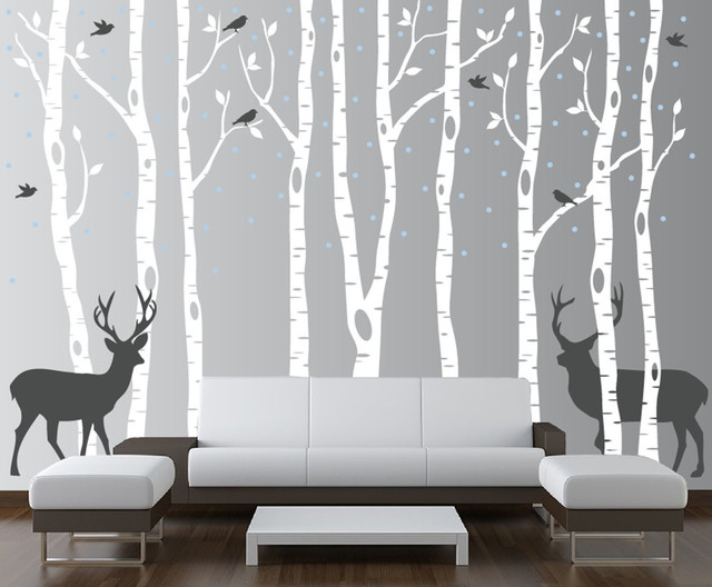 Innovative Stencils - Birch Tree Wall Decal Forest With Snow Birds and Deer Vinyl Sticker Removable