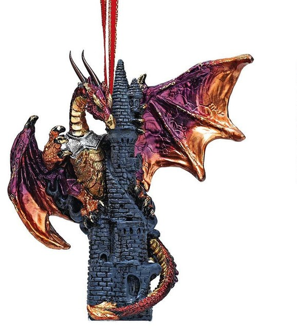 Dragon Castle Sculpture Holiday Ornament Traditional