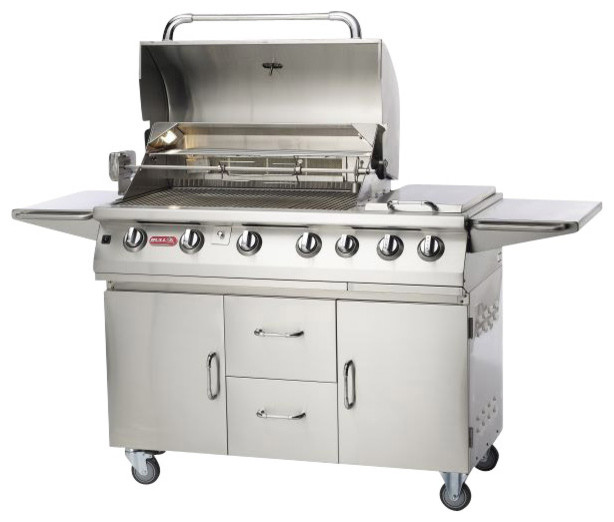 Bull outdoor 7 burner premium gas grill and cart for Gas grill tops outdoor kitchen