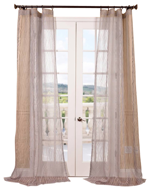 Piera taupe gray patterned sheer curtain contemporary for Patterned sheer curtain panels