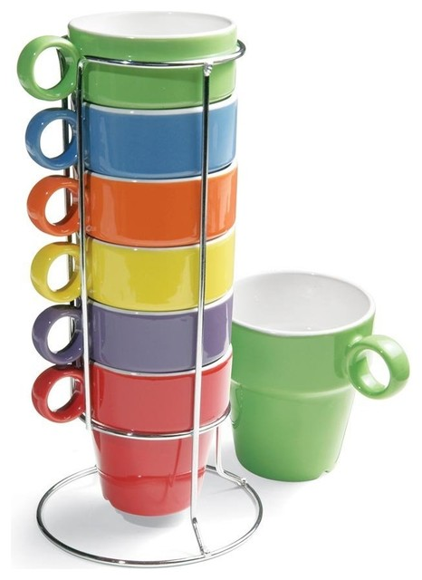 7 Piece Stacking Rainbow Mug And Stand Set Contemporary