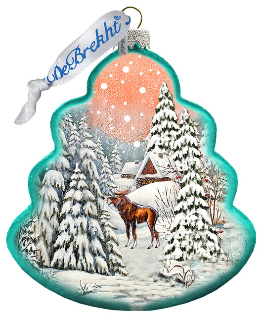 Traditional Glass Christmas Tree Ornaments : Hand painted glass scenic ornament winter village w moose