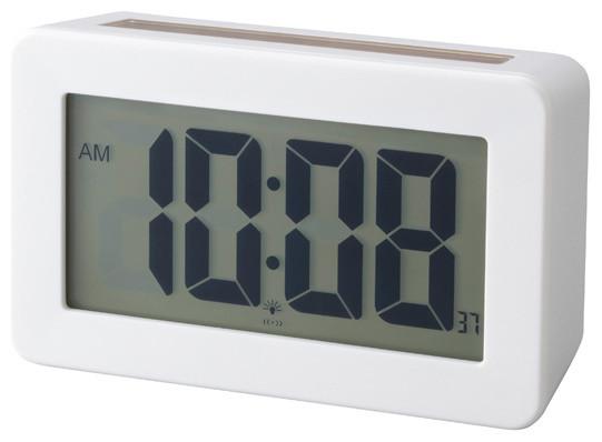 Solar Power Digital Clock White Contemporary Alarm