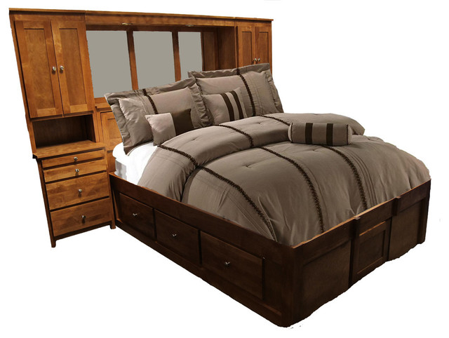 Urban Queen Pier Wall And Platform Bed Queen Whitewash Alder Transitional