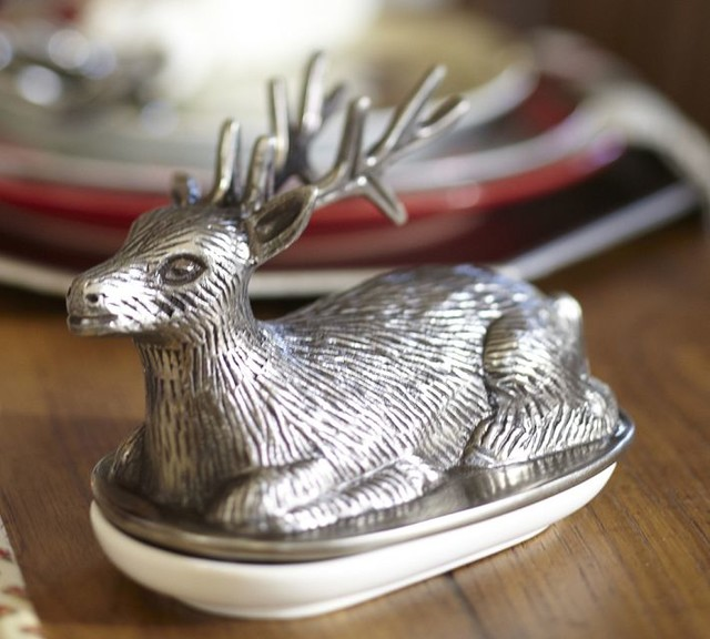 Reindeer Butter Dish Traditional Butter Dishes