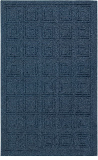 Mohawk Hampton Transom Navy Blue Solid Hi Low Pile Carved