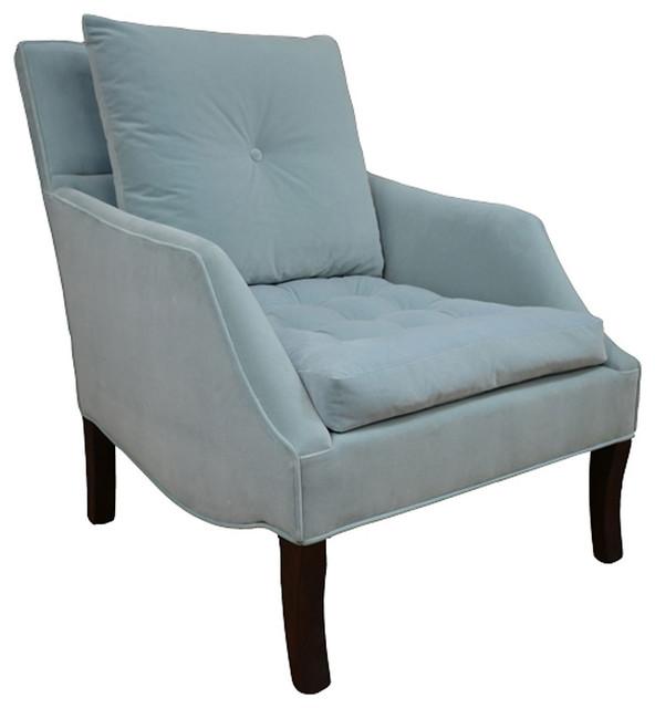 Miley tufted chair light blue contemporary armchairs for Light blue armchair