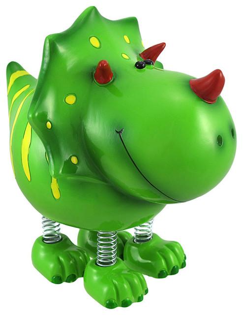 Smiling green triceratops dinosaur with spring legs - Dinosaur piggy banks ...