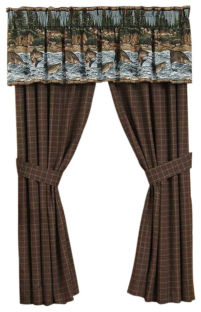River fishing valance rustic valances by for Fish curtains for windows