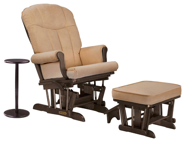 Shermag Combo Glider And Ottoman And Coffee Table Espresso And Bella Honey Traditional