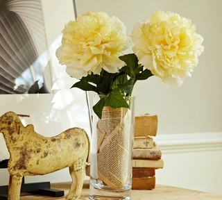 Faux Peony Stem Yellow Traditional Artificial Flowers