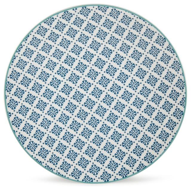 helyse assiette dessert motif bleu canard clectique assiette salade et dessert par. Black Bedroom Furniture Sets. Home Design Ideas