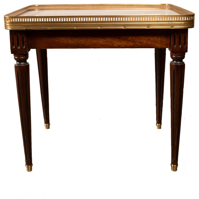 Louis Xvi Marble Coffee Table: French Louis XVI Style Mahogany And Marble Top Coffee