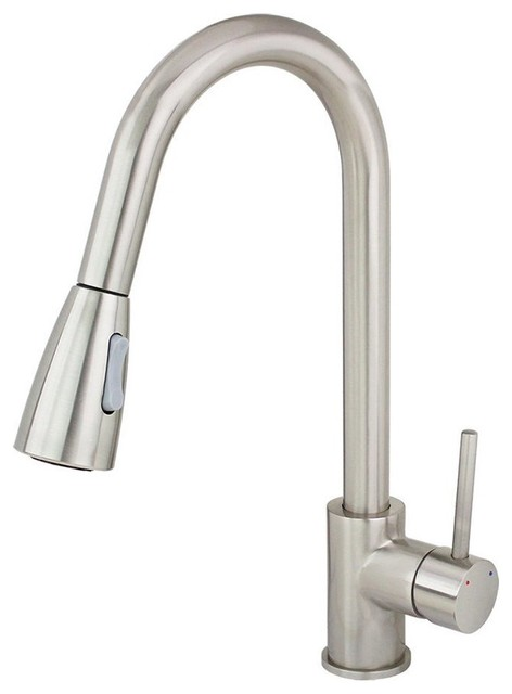 kitchen faucet with pull out dual sprayer bauhaus look. Black Bedroom Furniture Sets. Home Design Ideas