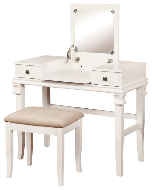 Linon Angela White 2 Piece Vanity Set Contemporary Bedroom Makeup V