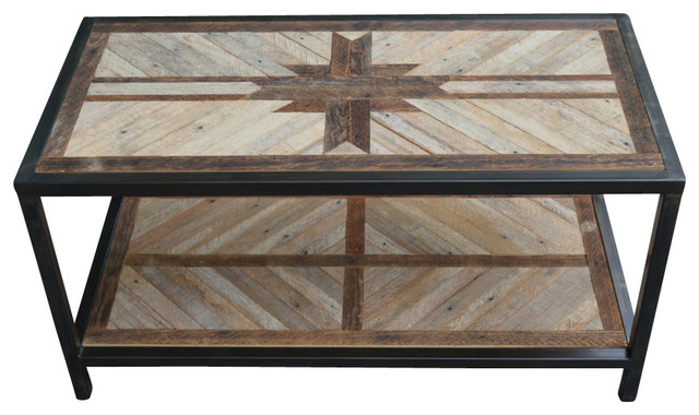 Reclaimed wood coffee table with welded frame for Southwestern coffee table