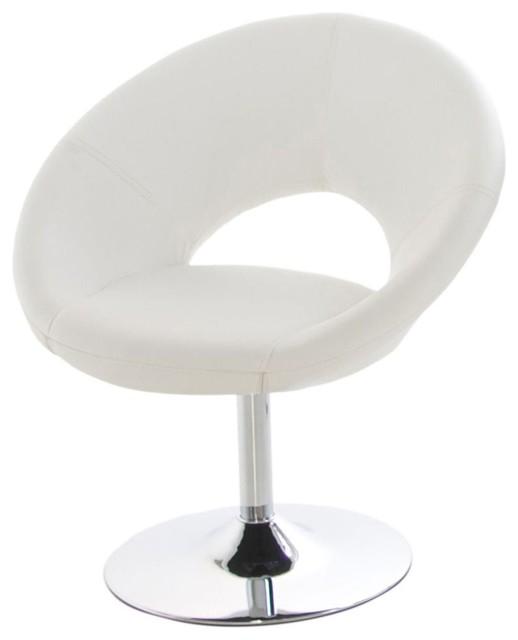 Plump fauteuil rev tement imitation cuir blanc moderne for Alinea chaise salle a manger