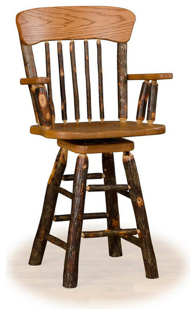 Hickory Log Swivel Oak Back Barstool With Arms 24 Seat