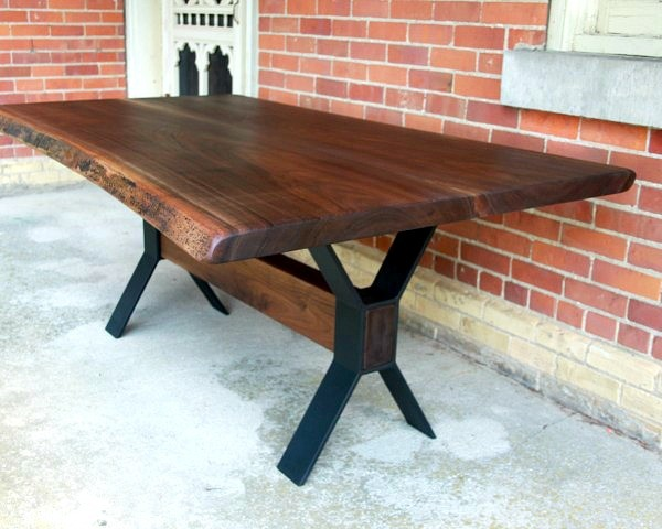Salvaged live edge walnut dining table with metal base for Farmhouse table plans with x legs