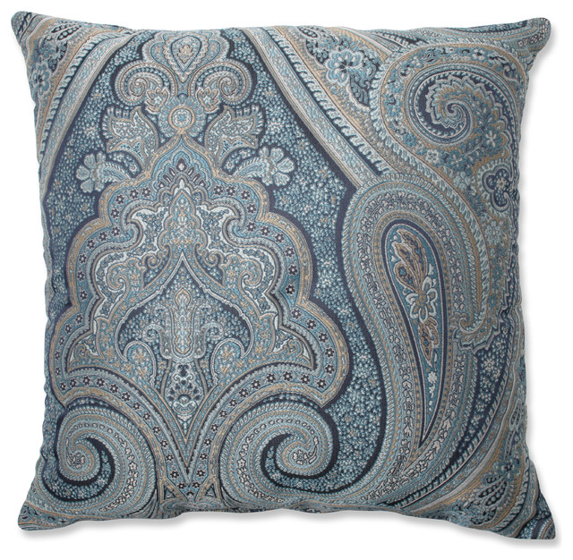 Traditional Throw Pillows : Royal Paisley Blue 18
