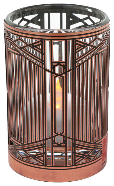 Frank lloyd wright evans house metal votive arts and for Arts and crafts candle sconces