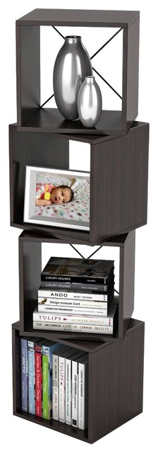 Rotating Cube Espresso Storage Unit - Transitional - Storage Cabinets