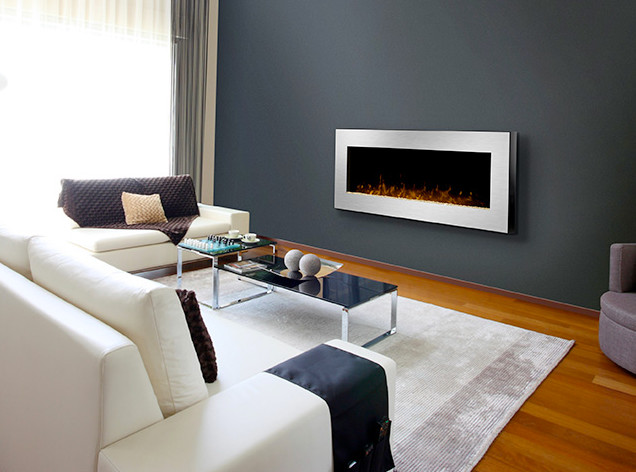 Dimplex 49 inch celebrity linear stainless steel wall mount electric fireplace modern indoor - Contemporary wall mount fireplace ...
