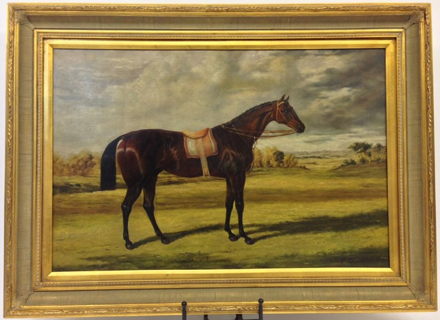 Framed Horse Oil Painting Wide Gold Frame Traditional