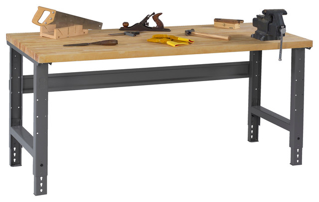 "Tennsco Workbench With Butcher Block Top and Adjustable Legs, Medium Gray, 60""x3 - Asian ..."