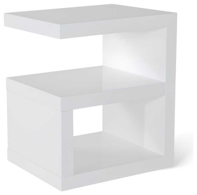 Jayden high gloss side table white contemporary for Modern bedside tables nightstands
