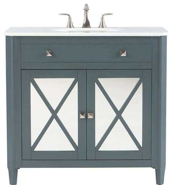 Vanity in Teal Blue with  Contemporary  Bathroom Vanities And Sink