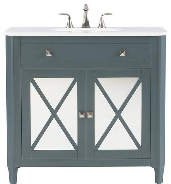Vanity in Teal Blue with  Contemporary  Bathroom Vanities And Sink