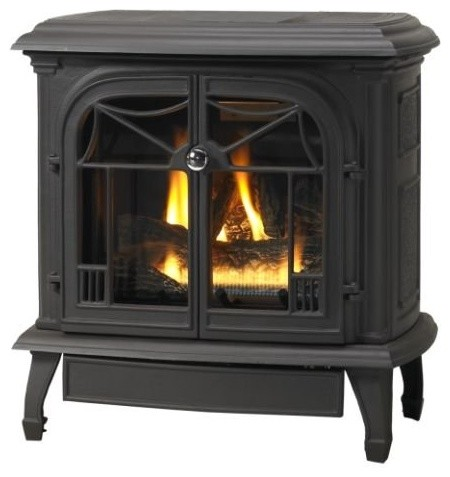 Customizable Cast Iron Stove With Gas Burner System, Flat Black, B-Vent, Natural - Traditional ...